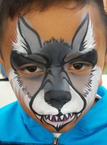 Pictura pe fata pentru copii - lup